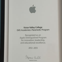 Apple Distinguished Program - Victor Valley College EMS Academies - 2012-2013