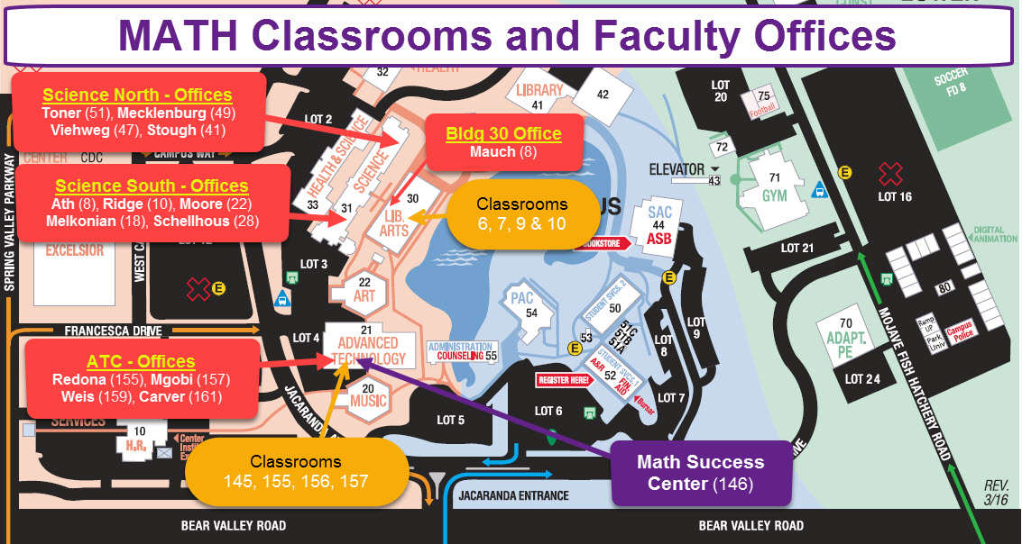 This image is a visual representation of the physical locations on our campus map as to where the Math classrooms and faculty offices are located. This information is listed in text format on this web page just before this image.