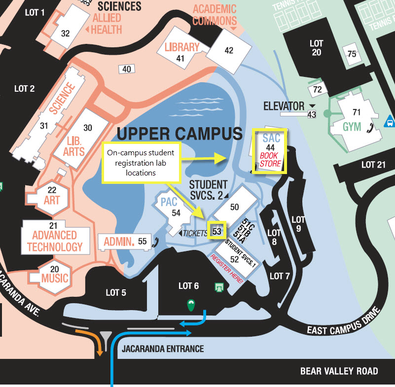 on-campus registration lab locations - map
