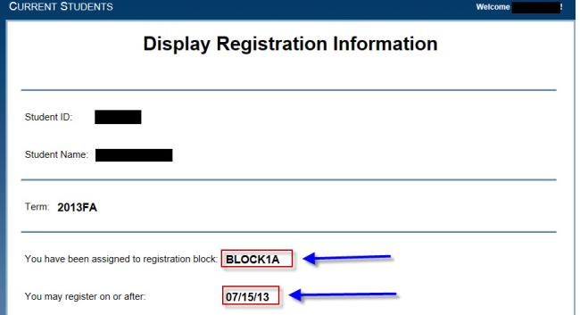 Display screenshot of registration dates
